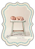 Baby Footprints Blue Ornate - Front