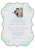 Floral Wreath Invitation Aqua Ornate - Front