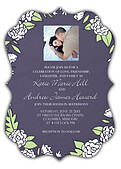 Floral Wreath Invitation Purple Ornate - Front