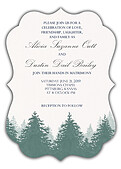 Forest Landscape Invitation Green Ornate - Front