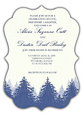 Forest Landscape Invitation Navy Ornate - Front