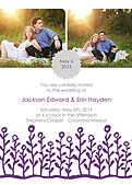 Flower Garden Invitation Gray Purple - Front