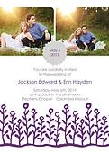 Flower Garden Invitation Gray Purple - Front
