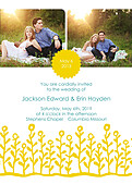 Flower Garden Invitation Yellow Teal - Front