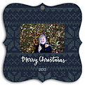Holiday Sweater Navy Square Ornate - Front