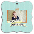 Holiday Thyme Aqua Square Ornate - Front