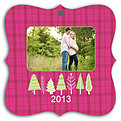 Plaid Trees Pink Square Ornate - Front
