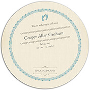 Baby Footprints Blue Circle Birth Announcements Flat Cards - Back