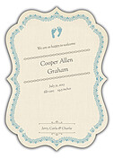 Baby Footprints Blue Ornate Birth Announcements Flat Cards - Back