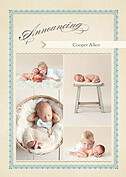 Baby Footprints Blue Birth Announcements Flat Cards - Front