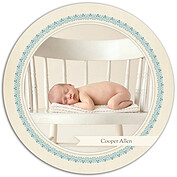 Baby Footprints Blue Circle Birth Announcements Flat Cards - Front