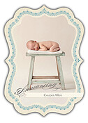 Baby Footprints Blue Ornate Birth Announcements Flat Cards - Front