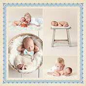 Baby Footprints Blue Square Birth Announcements Flat Cards - Front