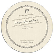 Baby Footprints Gray Circle Birth Announcements Flat Cards - Back