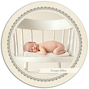 Baby Footprints Gray Circle Birth Announcements Flat Cards - Front