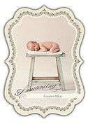 Baby Footprints Gray Ornate Birth Announcements Flat Cards - Front
