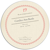 Baby Footprints Pink Circle Birth Announcements Flat Cards - Back