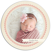 Baby Footprints Pink Circle Birth Announcements Flat Cards - Front