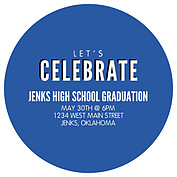 Block & Bold Blue Circle Graduation Flat Cards - Back