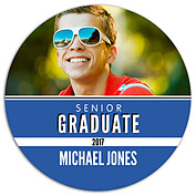 Block & Bold Blue Circle Graduation Flat Cards - Front