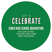 Block & Bold Green Circle Graduation Flat Cards - Back