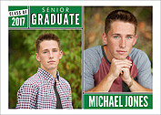 Block & Bold Green Graduation Flat Cards - Front