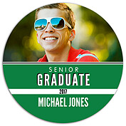 Block & Bold Green Circle Graduation Flat Cards - Front