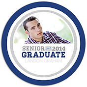 Block Font Blue Circle Graduation Flat Cards - Front