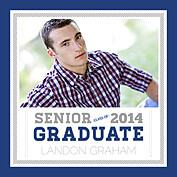 Block Font Blue Square Graduation Flat Cards - Front