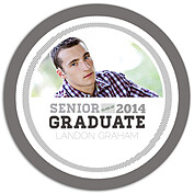Block Font Gray Circle Graduation Flat Cards - Front