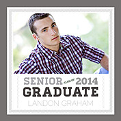 Block Font Gray Square Graduation Flat Cards - Front