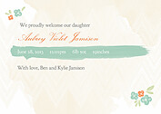 Casual Floral Aqua Birth Announcements Flat Cards - Back