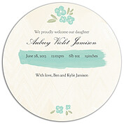 Casual Floral Aqua Circle Birth Announcements Flat Cards - Back