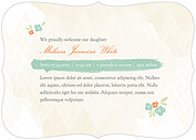 Casual Floral Aqua Ornate Birth Announcements Flat Cards - Back