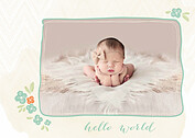 Casual Floral Aqua Birth Announcements Flat Cards - Front
