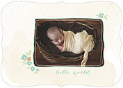 Casual Floral Aqua Ornate Birth Announcements Flat Cards - Front