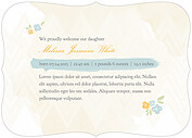 Casual Floral Blue Ornate Birth Announcements Flat Cards - Back