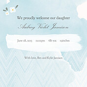 Casual Floral Blue Square Birth Announcements Flat Cards - Back