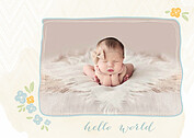 Casual Floral Blue Birth Announcements Flat Cards - Front