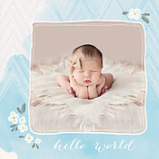 Casual Floral Blue Square Birth Announcements Flat Cards - Front