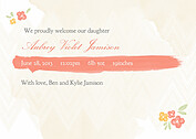 Casual Floral Coral Birth Announcements Flat Cards - Back