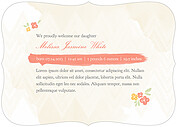 Casual Floral Coral Ornate Birth Announcements Flat Cards - Back