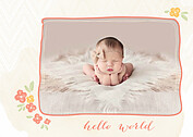 Casual Floral Coral Birth Announcements Flat Cards - Front