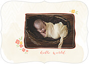 Casual Floral Coral Ornate Birth Announcements Flat Cards - Front