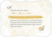 Casual Floral Gold Ornate Birth Announcements Flat Cards - Back