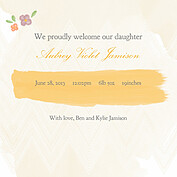 Casual Floral Gold Square Birth Announcements Flat Cards - Back