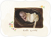 Casual Floral Gold Ornate Birth Announcements Flat Cards - Front