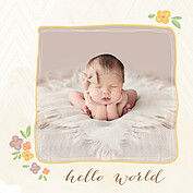 Casual Floral Gold Square Birth Announcements Flat Cards - Front