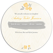 Casual Floral Gold Circle Birth Announcements Flat Cards - Back