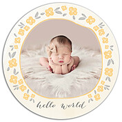 Casual Floral Gold Circle Birth Announcements Flat Cards - Front